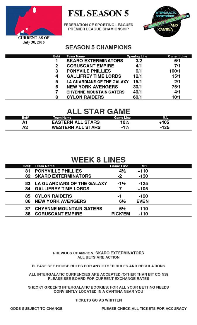 ASG & Week 8 Lines